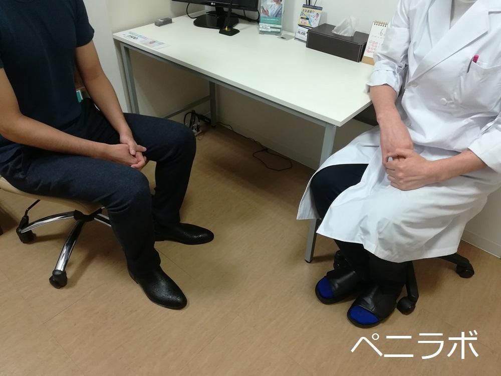 患者と医師が椅子に座っている写真